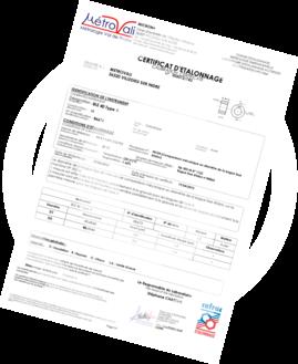 Metrovali spécimen de certificat d'étalonnage dématérialisé